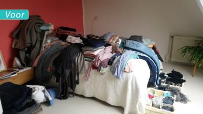 Opruimen kledingkast voor & na